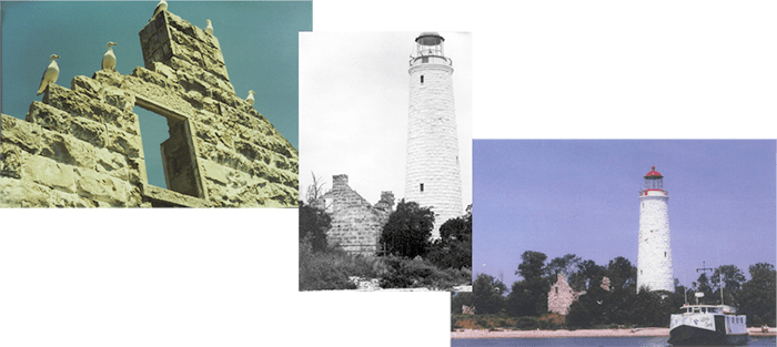 Chantry Island Lighthouse and Keeper's Cottage before restoration
